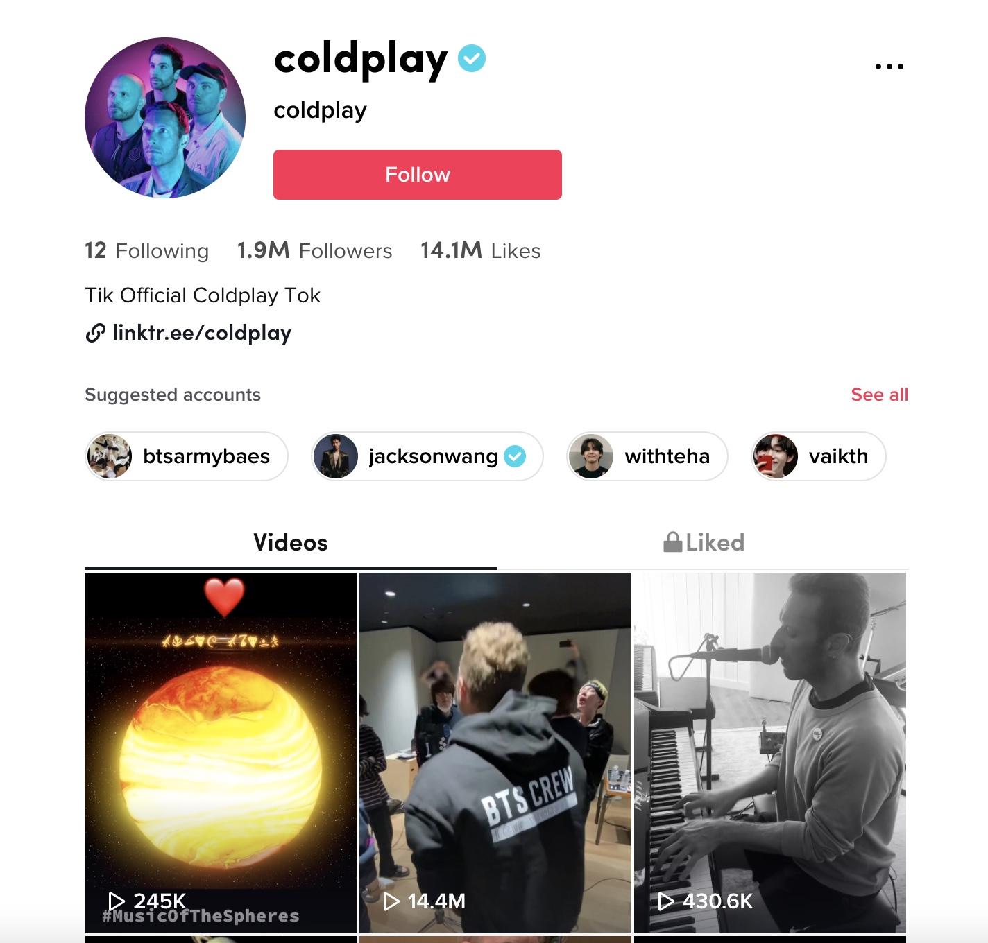 coldplay musicians on tiktok